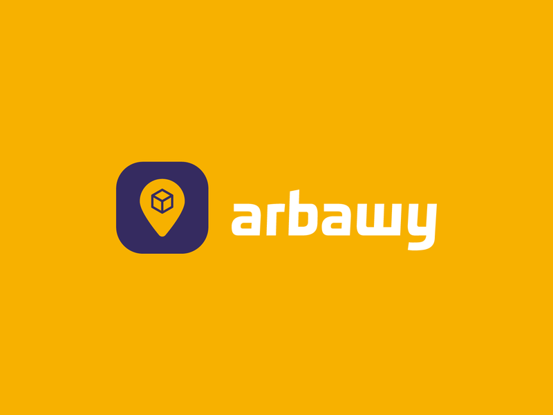 Arabawy -عرباوي | delivery logo شعار delivery service food delivery location pin box delivery logo logodesign logo