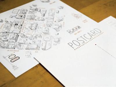 Shop Scranton Postcard branding illustration