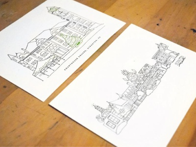 ScrantonMade building illustrations hand lettering branding event promotion postcards