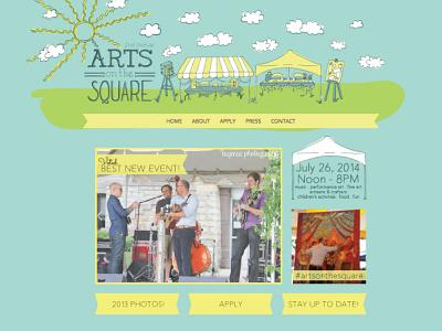Arts on the Square Web Design web design branding illustration hand lettering