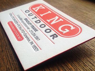 King Outdoor Business Card business card branding letterpress