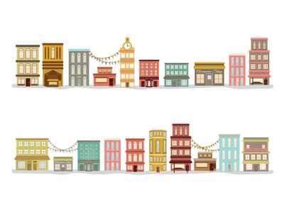 Shanty Town Buildings branding illustration