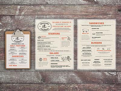 Backyard Ale House Menu food brand restaurant menu bar menu menu design illustration branding