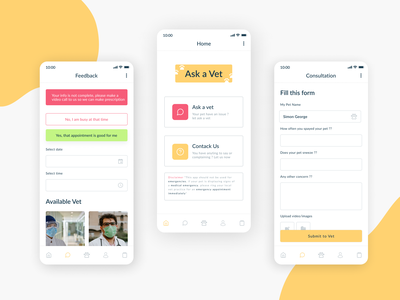 Ask a Vet design app ui