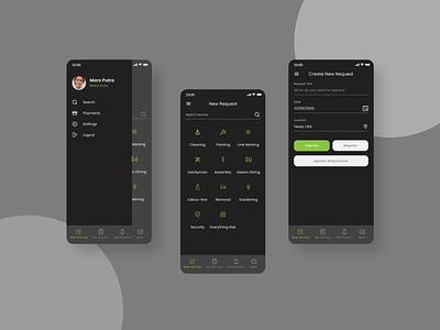 Cleaning App black dark ux design app ui