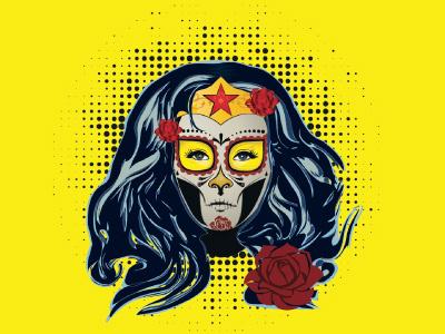 Wonder Woman  Catrina rebout heroine marvel super-hero woman wonder heroe day of the death hero illustration catrina wonder woman