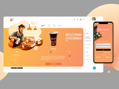 Coffera adobe xd mobile app coffee ordering delivery app warm illustration gradient ui design