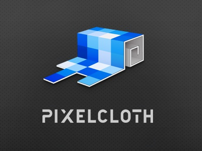 Pixelcloth logo pixelcloth cloth roll blue gray identity