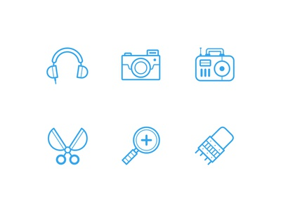 'Oldies' Icons details simple flat line clean icon
