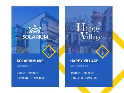 Neighbourhood cards design web realestate simple colorfull cards ui flat