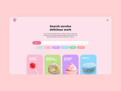 service for confectioners interface cake chocolate кондитер сайт pink candies sweets confectionery app website web ux ui figma minimal design