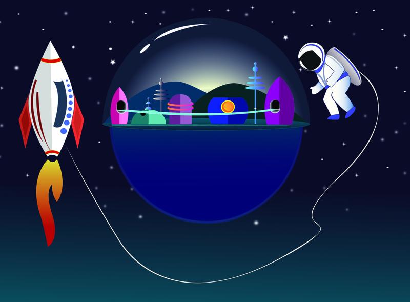 space station illustrator astronaut rocket space design illustration vector