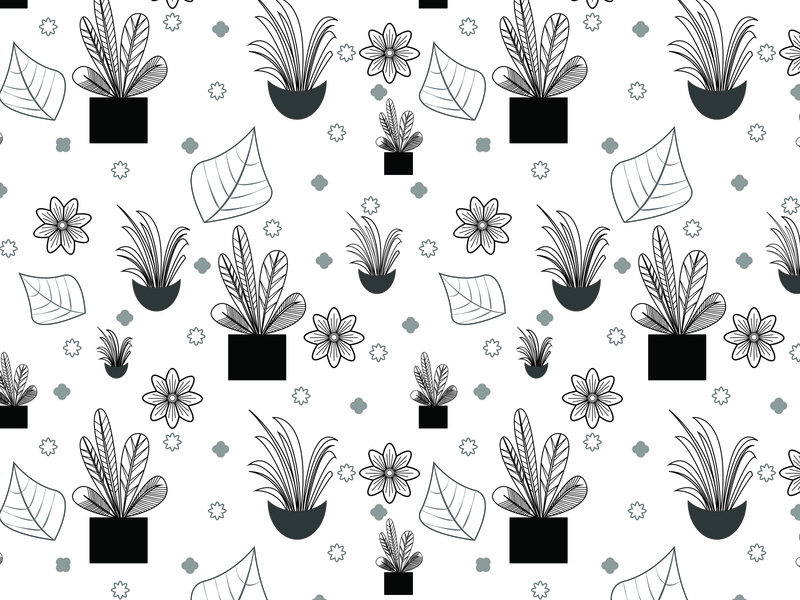 black and white planters seamless pattern flowers seamless vector art illustrator plants planters