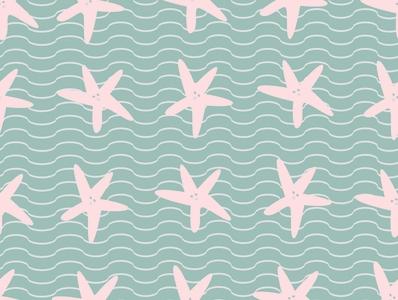 starfish with waves textile pattern starfish cartoons design illustrator art sea cute animal background design repeat pattern pattern seamless