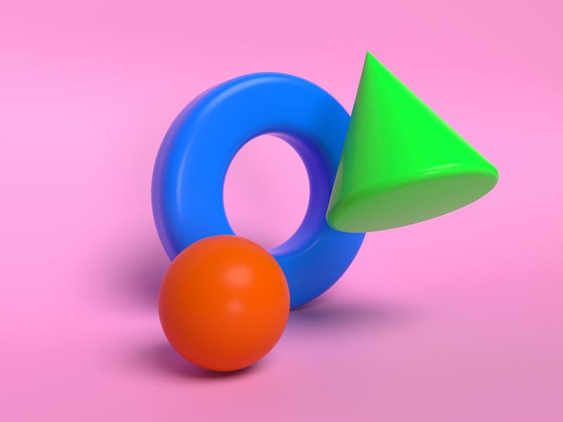 Geometry 3D design dribbble 3d art conus sphere torus geometry 3d