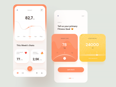 Fitness Tracker app fitness app weight loss weight ui sport tracking app mobile ui mobile gym fitness