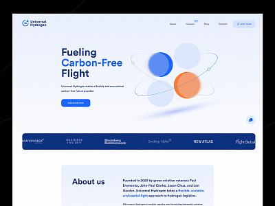 Universal Hydrogen - Landing page trendy design modern corporate web website typography ux ui landing page