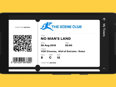 My Tickets (The Scene Club Android App) movie ticket