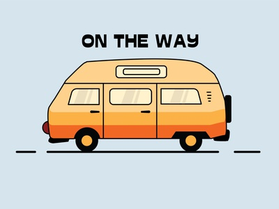 On The Way art vectors on the way classic car vw bus cartoon vw car vector illustration design