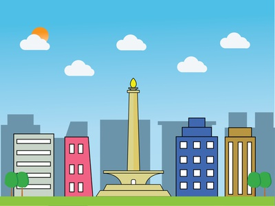 Monas ( Monumen Nasional ) jakarta city gradient art illustration design monas