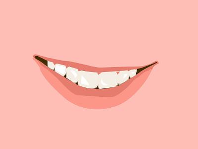 Smile lip tooth smile pink vector illustration design