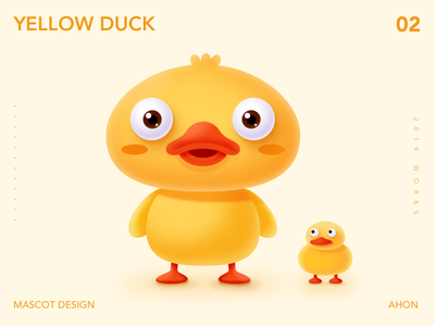A Yelllow Duck mascot cartoon illustration