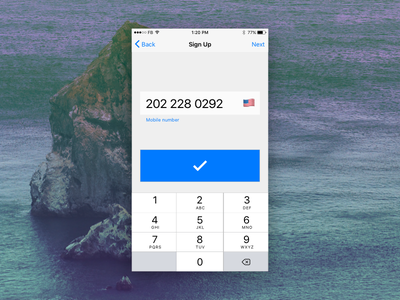 Sign Up number pad phone number sign up ios 9 001 dailyui iphone form ios