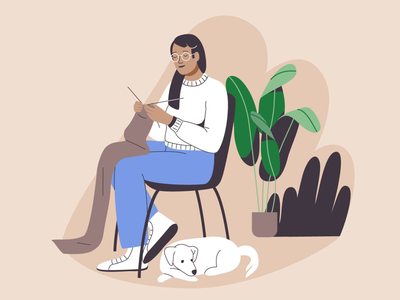 Knitting plant pet knitting woman sustainable fashion wool design dog illustration graphic drawing vector