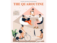 Quarantine magazine laptop read sport activity indoor lockdown home quarantine plant design mobile people graphic woman pastel vector character illustration