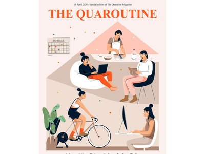 Quarantine magazine laptop read sport activity indoor lockdown home quarantine plant design mobile people graphic woman pastel vector character illustration