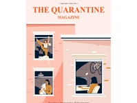 Quarantine magazine bike computer indoor yoga pet activity home quarantine plant design women people graphic woman pastel vector character illustration