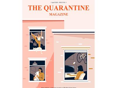 Quarantine magazine bike computer indoor yoga pet activity home quarantine plant design women people graphic woman pastel vector character illustration