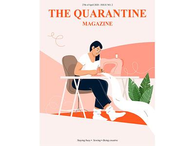 Quarantine magazine girl hobby lockdown activity indoor sewing plant quarantine women people graphic woman pastel vector character illustration