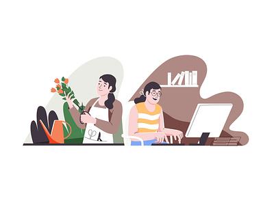 Changing jobs women in illustration job office florist computer flower women pastel woman character vector illustration