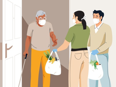 Help for the elderly mask coronavirus covid shopping help elderly men people graphic woman pastel vector character illustration