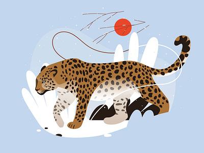 Endangered animals animals protect trade wildlife leopard graphic pastel vector illustration