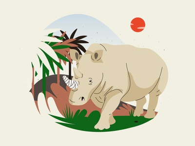 Endangered animals rhino environment protect planet species animals graphic pastel vector illustration