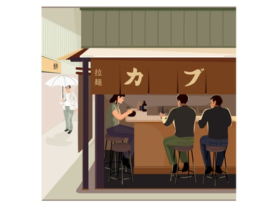 Ramen bar japanese design ramen japan noodle men women people pastel vector character illustration