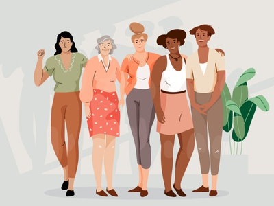 Women together powerful strenght plant design women graphic woman pastel vector character illustration