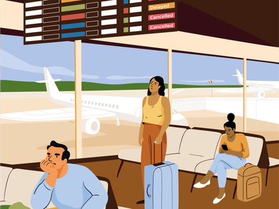 Travelling during Covid 19 airplane plane waiting delay airoport man design mobile women graphic woman pastel vector character illustration