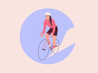Cycling biker web icon badge bike cycling women graphic woman pastel vector character illustration