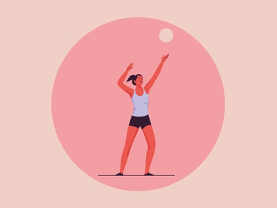 Volleyball volleyball girl design web graphic woman pastel vector character illustration