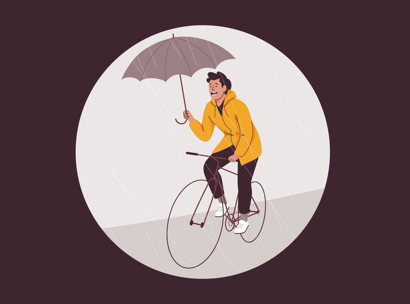 Rainy day bicycle cycling bike umbrella man rain design graphic pastel vector character illustration
