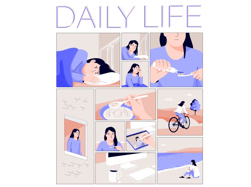 Daily life web graphic woman pastel vector character illustration people comicstrip comic art comics comic