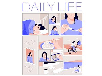 Daily life web graphic woman pastel vector character illustration people comicstrip comic art comics comic