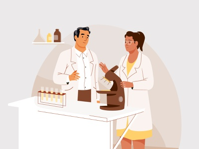 The Atlantic test lab science man design web graphic woman pastel vector character illustration