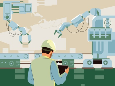 Smart Industry industry factory machine robot man editorial design web graphic pastel vector character illustration