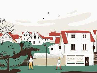 Stavanger establishment building house stavanger norway city man people graphic woman pastel vector character illustration