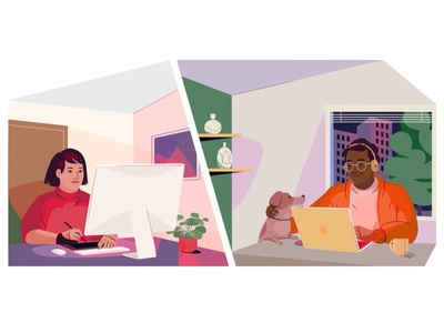 Working from home remote work work pet online computer woman man remote home people graphic pastel vector character illustration