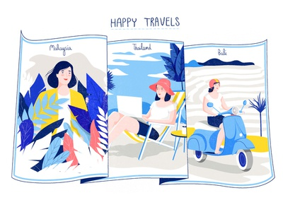 Happy travels map woman travel vector character illustration